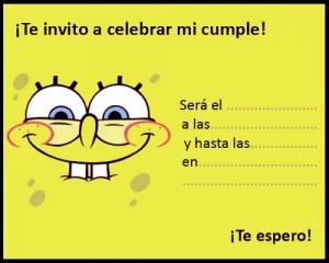 Tarjeta de invitación de cumpleaños de Bob Esponja