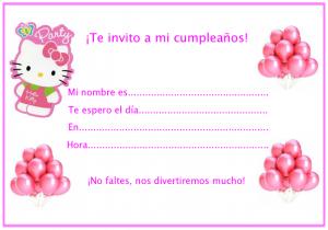 Tarjeta de invitacion a cumpleaños de Hello Kitty