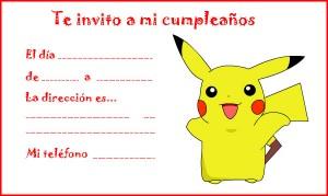 Invitación de cumpleaños de Pokemon