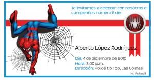Invitación de cumpleaños de Spiderman