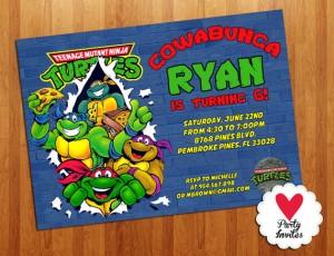 Tarjetas de invitación de cumpleaños de las tortugas Ninja