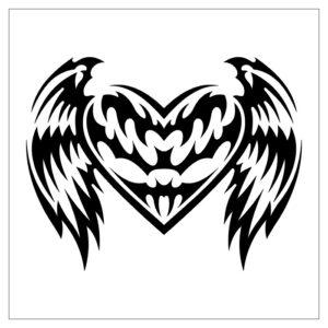 Corazón con alas en blanco y negro