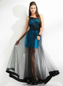 vestido para coctel contela transparente en la falda